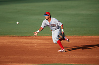 Clearwater Threshers second baseman Jose Antequera (18) flips the ball to the shortstop during a game against the Bradenton Marauders on July 24, 2017 at LECOM Park in Bradenton, Florida.  Bradenton defeated Clearwater 6-3  (Mike Janes/Four Seam Images)