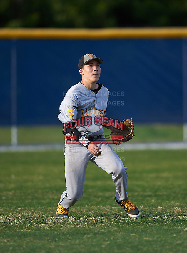 Lakewood Spartans left fielder Jaime Robles (24) during a game against the Boca Ciega Pirates at Boca Ciega High School on March 2, 2016 in St. Petersburg, Florida.  Boca Ciega defeated Lakewood 2-1.  (Mike Janes/Four Seam Images)