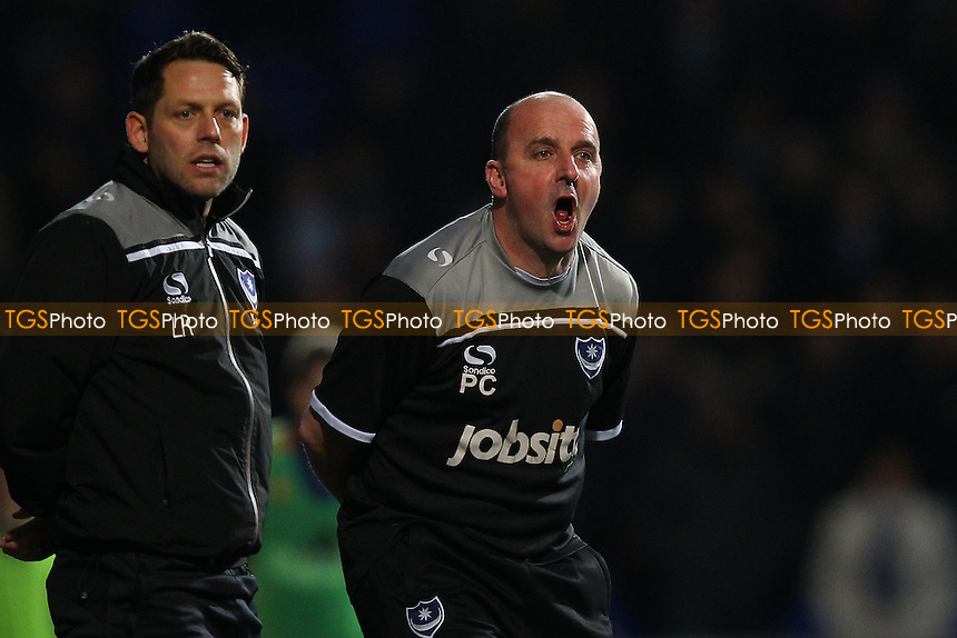 Portsmouth manager Paul Cook shouts to his players during Ipswich Town vs Portsmouth at Portman Road