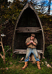 Nicky King, fisherman, in his garden, Wells-next-the-Sea, North Norfolk, U.K.,<br />