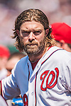 25 July 2013: Washington Nationals outfielder Jayson Werth stands in the dugout during a game against the Pittsburgh Pirates at Nationals Park in Washington, DC. The Nationals salvaged the last game of their series, winning 9-7 ending their 6-game losing streak. Mandatory Credit: Ed Wolfstein Photo *** RAW (NEF) Image File Available ***