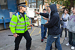 © Joel Goodman - 07973 332324 - all rights reserved . 30/08/2010 . Brighton , UK . Antifascists clash with police after they attempt to block the route of the March for England march . Nationalist group , March for England , hold a march in Brighton , opposed by antifascists . Photo credit : Joel Goodman