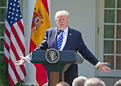 United States President Donald J. Trump conducts a joint press conference with the President of the Government or Prime Minister Mariano Rajoy of Spain in the Rose Garden of the White House in Washington, DC on Tuesday, September 26, 2017.<br /> Credit: Ron Sachs / CNP