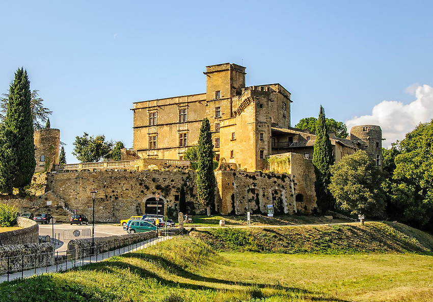 A view of the Château de Lourmarin from a location just outside the village of Lourmarin.