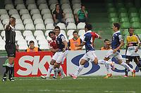 CURITIBA, PR, 20 DE OUTUBRO DE 2012 – PARANÁ X CRICIÚMA – Jogadores do Paraná Clube comemoram o gol de Anderson (segundo a esquerda) contra o Criciúma durante partida válida pela 31ª rodada da Série B do Campeonato Brasileiro 2012. O jogo acontece na tarde de sábado (20), no Estádio Couto Pereira, em Curitiba. (FOTO: ROBERTO DZIURA JR./ BRAZIL PHOTO PRESS)