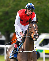 Star in the Making ridden by Adam Kirby goes down to the start of The Simpson Hilder Associates Supporting Gift Of Sight EBF Fillies' Novice Stakes during Evening Racing at Salisbury Racecourse on 3rd September 2019
