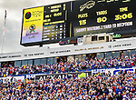 19 October 2014: Buffalo Bills fans cheer the game winning touchdown play, as the scoreboard reviews the drive in the fourth quarter against the Minnesota Vikings at Ralph Wilson Stadium in Orchard Park, NY. The Bills defeated the Vikings 17-16 in a dramatic, last minute, comeback touchdown drive. Mandatory Credit: Ed Wolfstein Photo *** RAW (NEF) Image File Available ***