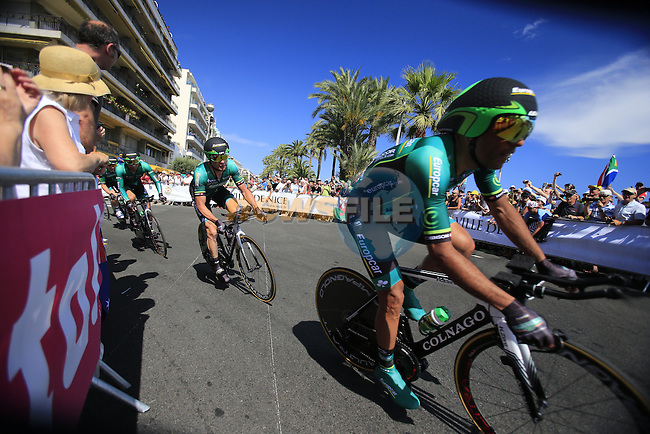 Team Europcar in action during Stage 4 of the 100th Edition of the Tour de France 2013 a 25k Team Time Trial around Nice. 2nd July 2013.<br /> (Photo: Eoin Clarke/ www.newsfile.ie)