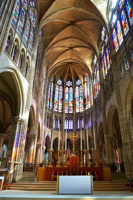 The Choir of the Gothic Cathedral Basilica of Saint Denis ( Basilique Saint-Denis ) Paris, France. A UNESCO World Heritage Site.
