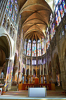 The Choir of the Gothic Cathedral Basilica of Saint Denis ( Basilique Saint-Denis ) Paris, France. A UNESCO World Heritage Site.