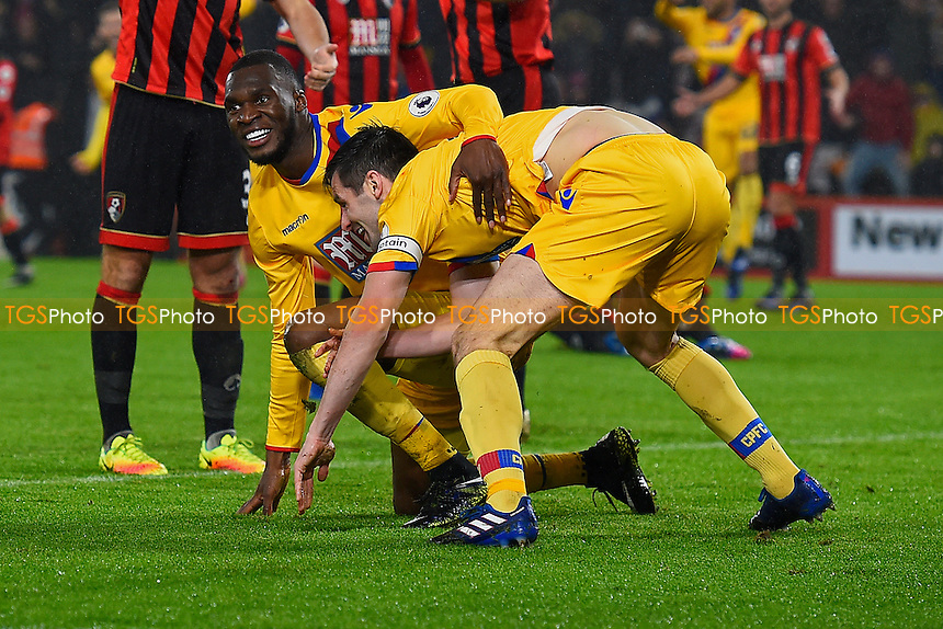 Christian Benteke left celebrates with goalscorer Scott Dann during AFC Bournemouth vs Crystal Palace, Premier League Football at the Vitality Stadium on 31st January 2017