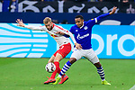16.03.2019, VELTINS Arena, Gelsenkirchen, Deutschland, GER, 1. FBL, FC Schalke 04 vs. RB Leipzig<br /> <br /> DFL REGULATIONS PROHIBIT ANY USE OF PHOTOGRAPHS AS IMAGE SEQUENCES AND/OR QUASI-VIDEO.<br /> <br /> im Bild Zweikampf zwischen Konrad Laimer (#27 Leipzig) und Weston McKennie (#2 Schalke)<br /> <br /> Foto © nordphoto / Kurth