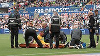 Preston North End's Louis Moult been treated for an injury<br /> <br /> Photographer David Horton/CameraSport<br /> <br /> The EFL Sky Bet Championship - Swansea City v Preston North End - Saturday 17th August 2019 - Liberty Stadium - Swansea<br /> <br /> World Copyright © 2019 CameraSport. All rights reserved. 43 Linden Ave. Countesthorpe. Leicester. England. LE8 5PG - Tel: +44 (0) 116 277 4147 - admin@camerasport.com - www.camerasport.com