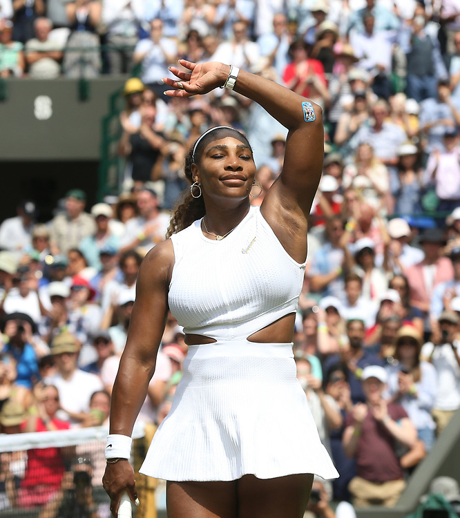Serena Williams (USA) celebrates after winning her match against Carla Suarez Navarro (ESP) in their Ladies' Singles Fourth Round match<br /> <br /> Photographer Rob Newell/CameraSport<br /> <br /> Wimbledon Lawn Tennis Championships - Day 7 - Monday 8th July 2019 -  All England Lawn Tennis and Croquet Club - Wimbledon - London - England<br /> <br /> World Copyright © 2019 CameraSport. All rights reserved. 43 Linden Ave. Countesthorpe. Leicester. England. LE8 5PG - Tel: +44 (0) 116 277 4147 - admin@camerasport.com - www.camerasport.com
