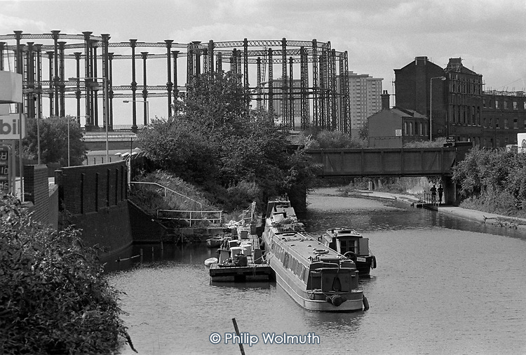 Grand Union canal, gasometers and the Coal House, Kings Cross, London 1990.
