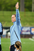 Piscataway, NJ, May 7, 2016. Christie Rampone (3) of Sky Blue FC during player introductions prior to their game with the Western New York Flash.  The Western New York Flash defeated Sky Blue FC, 2-1, in a National Women's Soccer League (NWSL) match at Yurcak Field.