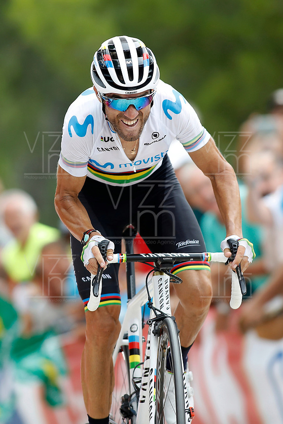 ESPAÑA, 30-08-2019: Alejandro Valverde (ESP - MOVISTAR) durante la etapa 7, hoy, 30 de agosto de 2019, que se corrió entre Onda y Mas de la Costa con una distancia de 183,2 km como parte de La Vuelta a España 2019 que se disputa entre el 24/08 y el 15/09/2019 en territorio Español. / Alejandro Valverde (ESP - MOVISTAR) during stage 7 today, August 30, 2019, from Onda to Mas de la Costa with a distance of 183,2 km as part of Tour of Spain 2019 which takes place between 08/24 and 09/15/2019 in Spain.  Photo: VizzorImage / Luis Angel Gomez / ASO<br /> VizzorImage PROVIDES THE ACCESS TO THIS PHOTOGRAPH ONLY AS A PRESS AND EDITORIAL SERVICE AND NOT IS THE OWNER OF COPYRIGHT; ANOTHER USE HAVE ADDITIONAL PERMITS AND IS  REPONSABILITY OF THE END USER