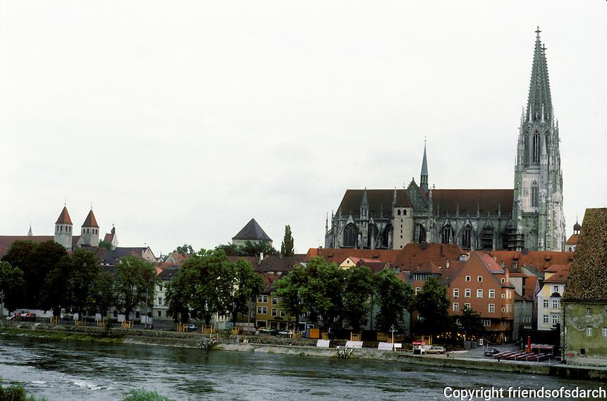 Regensburg: Skyline of city from stone bridge. Spires of St. Peter's. Photo '87.