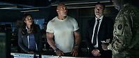 Rampage (2018)   <br /> NAOMIE HARRIS as Dr. Kate Caldwell, DWAYNE JOHNSON as Davis Okoye and JEFFREY DEAN MORGAN as Harvey Russell<br /> *Filmstill - Editorial Use Only*<br /> CAP/MFS<br /> Image supplied by Capital Pictures