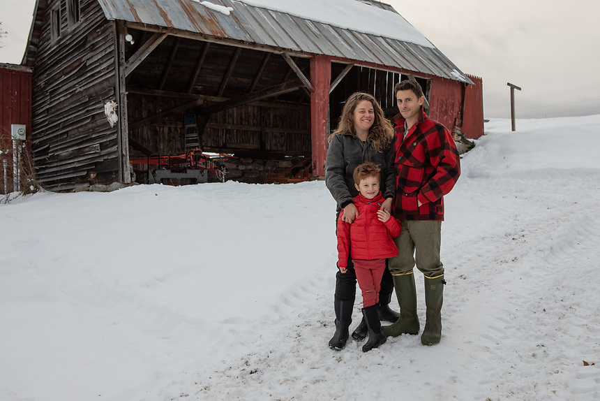 NORTHFIELD, VERMONT - Nathaniel Miller on his farm, Falling Damps Farm.<br /> At home on the farm are Nathaniel, his wife Eilis and their son Ned.