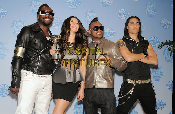BLACK EYED PEAS -  Apl de Ap, Fergie, Will.I.am & Taboo .20th Annual MuchMusic Video Awards at the MuchMusic HQ, Toronto, Ontario, Canada..June 21st, 2009.half length black gold leather jacket sunglasses shades award trophy stacey ferguson stacy facial hair beard goatee arms crossed silver sheer top silk satin arms crossed hand v peace sign tattoo.CAP/ADM/BPC.©Brent Perniac/AdMedia/Capital Pictures.