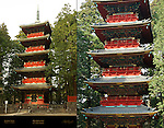 Gojunoto Five Story Pagoda Composite Image Nikko Toshogu Shrine Nikko Japan