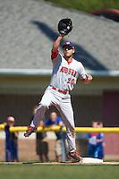 Auburn Doubledays first baseman Ryan Ripken (20) during a game against the Batavia Muckdogs on September 5, 2016 at Dwyer Stadium in Batavia, New York.  Batavia defeated Auburn 4-3. (Mike Janes/Four Seam Images)