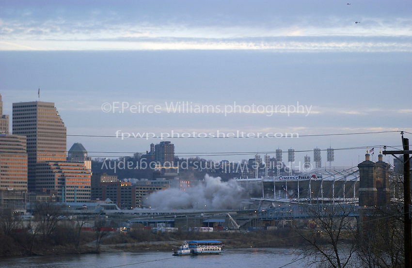 Cincinnati's Riverfront Stadium, former home to the Red's and Bengals is demolished with explosives early on a Sunday morning, 29 December, 2002.