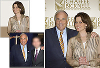 We got permission to use this photo of then Pennsylvania governor Ed Rendell, and shot a photo of Sigourney Weaver to insert. I also added a back wall of fictitious logos.