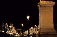The Champs-Élysées with the Arc de Triomphe at the end seen from the Concorde Plaza, Paris, France.