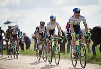 eventual winner Matthew Hayman (AUS/Orica-GreenEDGE) over the cobbles of sector 14: Tilloy &agrave; Sars-et-Rosi&egrave;res (2.4km)<br /> <br /> 114th Paris-Roubaix 2016