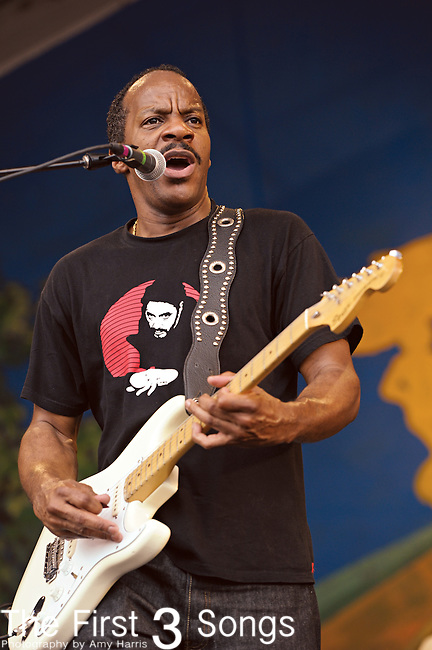 Nick Hall of Dumpstaphunk performs during the New Orleans Jazz & Heritage Festival in New Orleans, LA on May 3, 2012.
