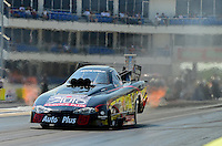 Sept. 22, 2012; Ennis, TX, USA: NHRA funny car driver Blake Alexander during qualifying for the Fall Nationals at the Texas Motorplex. Mandatory Credit: Mark J. Rebilas-