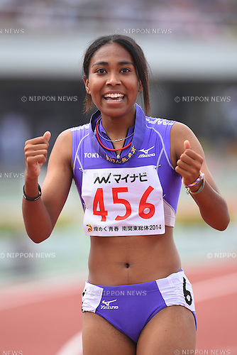 (Tokyo), <br /> JULY 31, 2014 - Athletics : <br /> 2014 All-Japan Inter High School Championships, <br /> Women's 100m Final <br /> at Kofu, Yamanashi, Japan. <br /> (Photo by YUTAKA/AFLO SPORT)