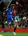 Idrissa Gueye of Everton in action with Marouane Fellaini of Manchester United during the English Premier League match at Old Trafford Stadium, Manchester. Picture date: April 4th 2017. Pic credit should read: Simon Bellis/Sportimage