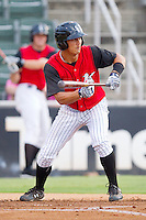 Tyler Saladino #1 of the Kannapolis Intimidators squares to bunt against the Hickory Crawdads at Fieldcrest Cannon Stadium August 18, 2010, in Kannapolis, North Carolina.  Photo by Brian Westerholt / Four Seam Images