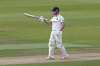 Sam Hain of Warwickshire raises his bat to celebrate reaching his fifty during Warwickshire CCC vs Essex CCC, Specsavers County Championship Division 1 Cricket at Edgbaston Stadium on 10th September 2019