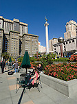 California, San Francisco: People relaxing at Union Square..Photo #: 6-casanf79263.Photo © Lee Foster 2008