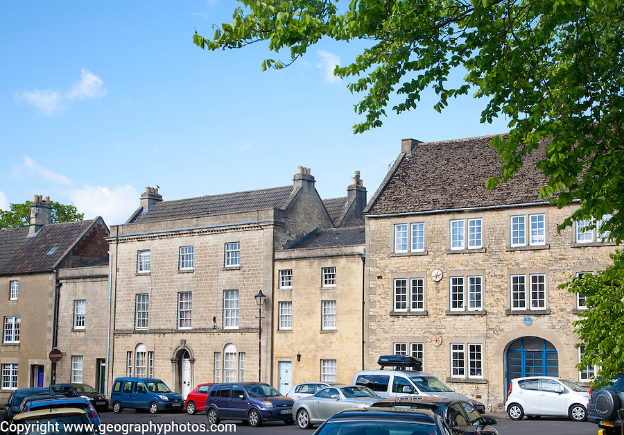 Georgian clothiers houses on the Green in Calne, Wiltshire, England