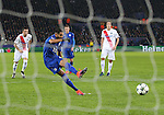 Leicester's Riyad Mahrez scoring his sides second goal during the Champions League group B match at the King Power Stadium, Leicester. Picture date November 22nd, 2016 Pic David Klein/Sportimage