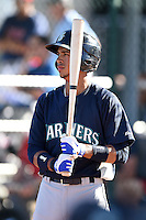 Seattle Mariners outfielder Luis Liberato (23) during an Instructional League game against the Cleveland Indians on October 1, 2014 at Goodyear Training Complex in Goodyear, Arizona.  (Mike Janes/Four Seam Images)