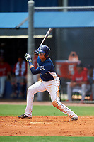 GCL Rays second baseman Jonathan Aranda (10) grounds into a double play during the first game of a doubleheader against the GCL Twins on July 18, 2017 at Charlotte Sports Park in Port Charlotte, Florida.  GCL Twins defeated the GCL Rays 11-5 in a continuation of a game that was suspended on July 17th at CenturyLink Sports Complex in Fort Myers, Florida due to inclement weather.  (Mike Janes/Four Seam Images)