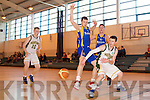 Sean Dowling Mounthawk v Darragh Tonies Castleisland in the U-19 Munster Basketball final in Monthawk Gym on Monday.