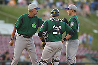 Beloit Snappers pitching coach Gary Lucas #28 meets with pitcher Matt Summers #24 and catcher Matt Koch #21 during a game against the Kane County Cougars at Fifth Third Bank Ballpark on June 26, 2012 in Geneva, Illinois. Beloit defeated Kane County 8-0. (Brace Hemmelgarn/Four Seam Images)