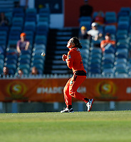 2nd November 2019; Western Australia Cricket Association Ground, Perth, Western Australia, Australia; Womens Big Bash League Cricket, Perth Scorchers versus Melbourne Stars; Heather Graham of the Perth Scorchers drops a catch off her own bowling - Editorial Use