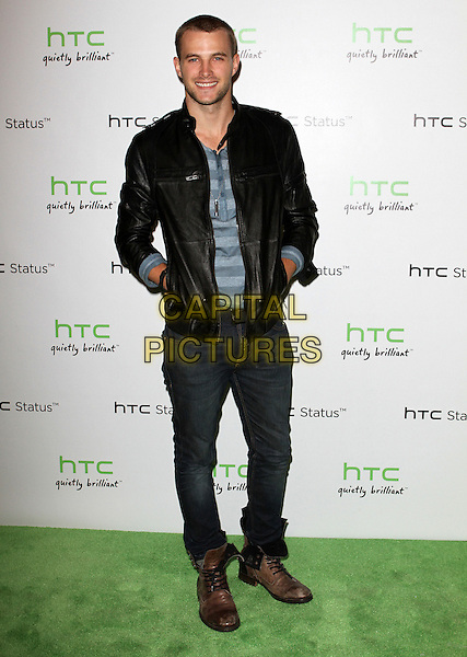 James Preston.The HTC Statusª Social Launch Event held at Paramount Studios in Hollywood, California, USA..July 19th, 2011.full length black leather jacket jeans denim blue shirt hands in pockets .CAP/ADM/KB.©Kevan Brooks/AdMedia/Capital Pictures.