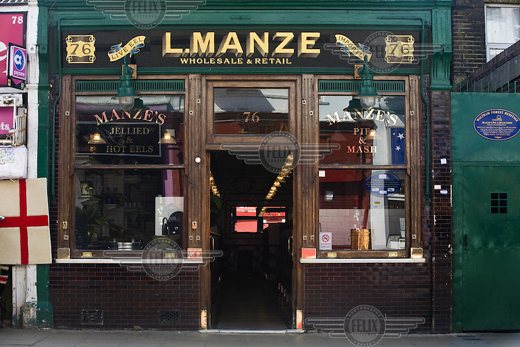 Manze's Eel, Pie and Mash shop in Walthamstow, East London. Although the shop still trades under the original Manze name, it is now independently owned and no longer part of the Manze family.