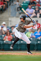 Arkansas Travelers catcher Marcus Littlewood at bat during a game against the Frisco RoughRiders on May 28, 2017 at Dickey-Stephens Park in Little Rock, Arkansas.  Arkansas defeated Frisco 17-3.  (Mike Janes/Four Seam Images)