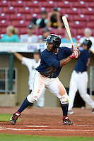 Cedar Rapids Kernels outfielder J.D. Williams (17) at bat during a game against the Quad Cities River Bandits on August 18, 2014 at Perfect Game Field at Veterans Memorial Stadium in Cedar Rapids, Iowa.  Cedar Rapids defeated Quad Cities 4-2.  (Mike Janes/Four Seam Images)