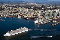 aerial view above Carnival Cruise Lines Ship Spirit San Diego harbor California